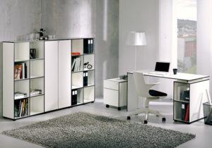 Möbelserie Coco – Schreibtisch, Rollcontainer, Hängeregistratur, Wandregal