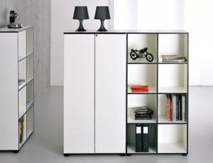 »Coco« Möbel aus der Schweiz – Regalsystem mit abschließbaren Schranktüren