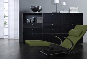 Duco System/Viasit – Sideboard mit Schubladen, Relaxliege